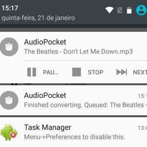 Audio Pocket pode ser controlado pela barra de notificações