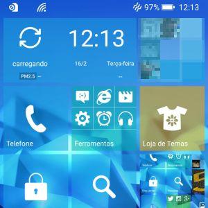 Visual da Launcher 8 instalado no Asus Zenfone Selfie. |Crédito: Reprodução