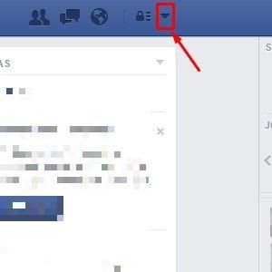 1-Acesse o Facebook em qualquer navegador. Após carregar sua página inicial, clique na seta que fica no canto superior direito. |Crédito: Reprodução