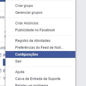 2-Depois clique em configurações, para ter acessar as opções do Facebook. |Crédito: Reprodução