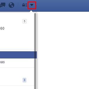 1 - Clique no triângulo invertido no canto superior direito da página do Facebook.