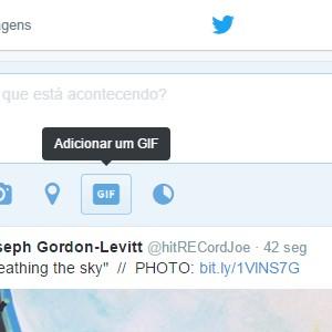 1 - Clique no espaço para novos Tweets e depois sobre o botão Gif.