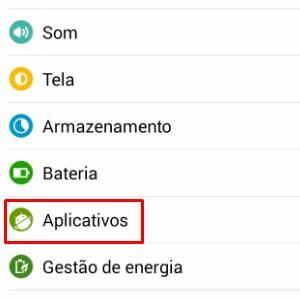 1 - Nas configurações do dispositivo, procure pela opção Aplicativos.