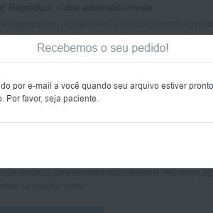 4 - Aguarde enquanto o Twitter envia o arquivo para o seu endereço de e-mail.