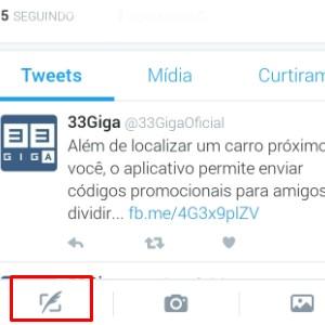 1 - Toque no símbolo da pena que abre o campo para tweets.