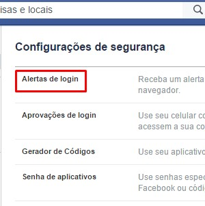 4 - Alerta de login será a primeira configuração. Clique em editar ao lado da opção.