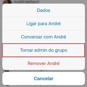 2. Agora, toque no nome do contato que você deseja transformar em administrador. Clique em Tornar admin do grupo e pronto! Agora o controle estará dividido.