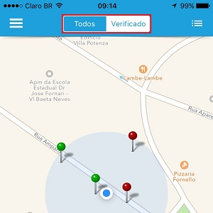 2. Permita que o aplicativo saiba sua localização e pronto! Automaticamente vários pontinhos pipocarão na tela. Se quiser ver todas as redes cadastradas no Mandi magiC, clique em Todos. Caso queira visualizar somente os pontos que foram confirmados pelos usuários, dê um toque em Verificados.
