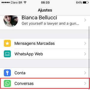 2. Agora, selecione Conversas.