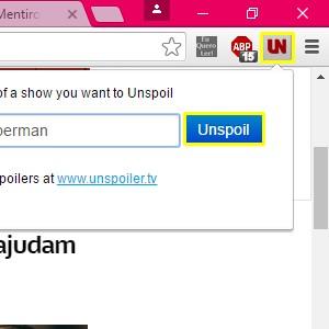 3. Assim que a instalação for concluída, a extensão aparecerá no canto superior direito do navegador. Clique no ícone e escreva no espaço em branco a palavra-chave que você deseja evitar. Depois, selecione Unspoil.