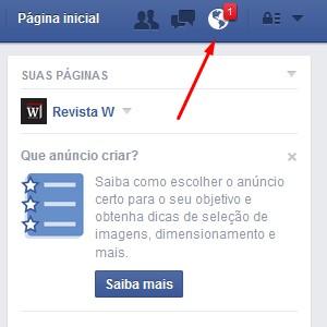 1-Acesse a página inicial do Facebook e clique na central de notificações. |Crédito: Reprodução