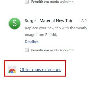 """2-No canto esquerdo, clique na opção """"extensões"""". Depois role até o fim da página e selecione """"Obter novas extensões""""."""