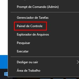 1 - Clique com o botão direito sobre o ícone Iniciar. Nas opções, entre em Painel de Controle.