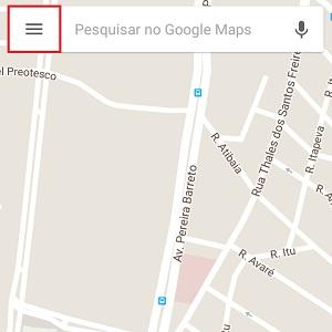 1. Em seu celular, abra o Google Maps. Depois, faça o login no app. Para isso, clique nas três listras (canto superior esquerdo).