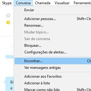 1. Abra o Skype. Em sua lista de contatos, abra a conversa que você quer pesquisar. Vá até o menu superior, clique em Conversas e depois em Encontrar.