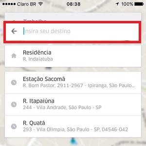 """2. Agora, clique em """"Insira seu destino"""" e digite o endereço para onde está indo."""