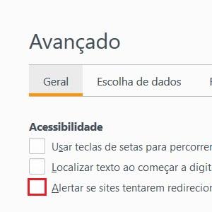 """3. Marque a caixa """"Alertar se sites tentarem redirecionar ou recarregar a página"""". Pronto! O site não farão mais o auto refresh."""