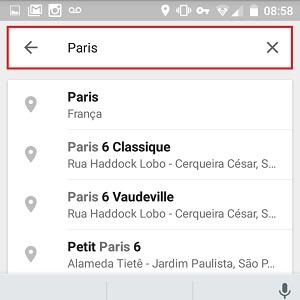 3. Agora, digite no campo de busca o local que você quer memorizar, por exemplo, Paris.