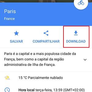 5. Aperte Download para que o Google Maps baixe o conteúdo offline.