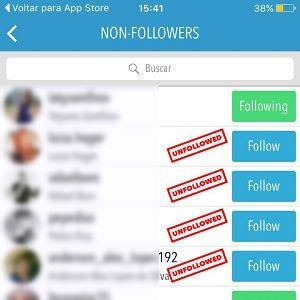 """4. Basta ver os nomes e decidir se você quer continuar seguindo ou não. Caso não queira, clique em """"Following"""" e automaticamente o aplicativo dará unfollow no contato."""