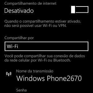 """3. Clique no botão ao lado de """"Desativado"""" para tornar a opção ativa. Depois, para usar o compartilhamento, basta procurar pelo nome de transmissão e digitar a senha sugerida pelo Windows."""