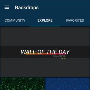 Interface do Backdrops; Wall Of The Day é o fundo de tela escolhido diariamente pelo app |Crédito: Reprodução