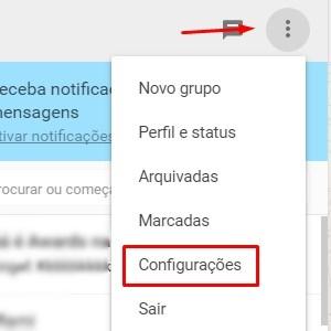 1 - Com a versão web aberta no seu navegador, clique nas três bolinhas em cima da área na qual as conversas ficam agrupadas. Entre em Configurações.