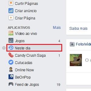 """1. Em seu Facebook, vá até o menu da lateral esquerda e dê um clique em """"Neste dia""""."""