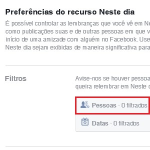 """3. O Facebook oferece dois filtros para restringir as recordações: pessoas e datas. Para não visualizar as lembranças de alguém, vá até """"Pessoas"""" e clique em """"Editar""""."""