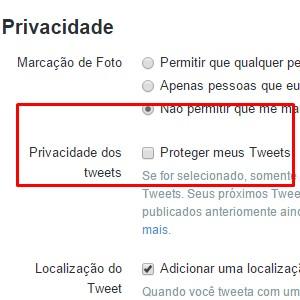 3 - Procure pela área privacidade e marque a opção Privacidade dos Tweets.