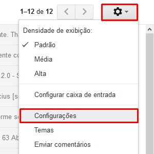"""1. Em seu Gmail, clique no símbolo de engrenagem e depois aperte """"Configurações""""."""