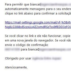6. Em sua outra conta, clique no e-mail recebido pelo Gmail e aperte o link presente na mensagem.