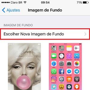 """3. Clique em """"Escolher Nova Imagem de Fundo""""."""