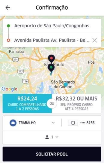 Simulação de economia UberPool |Crédito: reprodução