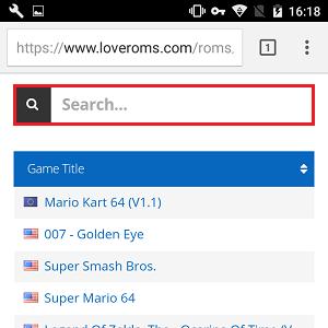3. Em Search, digite o nome do game que você quer baixar. Ao encontra-lo, dê um toque em cima do título.
