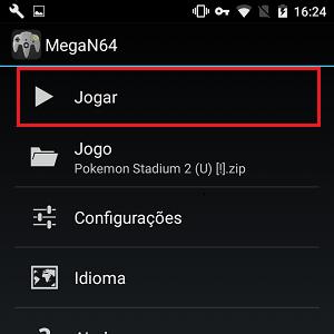 7. Você será levado de volta para a tela inicial do MegaN64. Clique em Jogar.