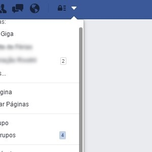 1 - Clique no triângulo invertido no topo da barra do Facebook.