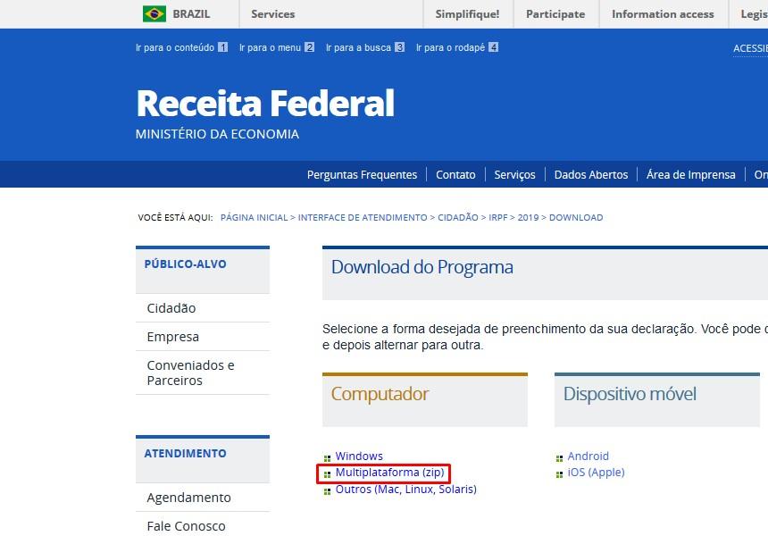 download irpf 2019 site da receita federal