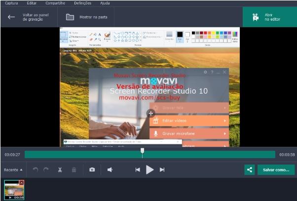 Editando a gravação de tela pelo Movavi