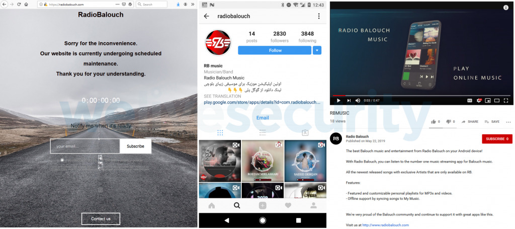 site da Radio Balouch (à esquerda), conta do Instagram (centro) e vídeo promocional do YouTube (à direita)