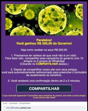 Captura de tela que mostra o golpe virtual COVID-19 exigindo que as vítimas compartilhem o quiz para receber seus supostos pagamentos do governo