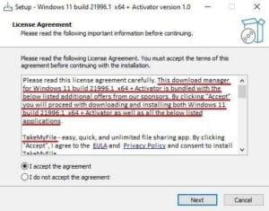 Um exemplo de um falso instalador do sistema operacional Windows 11 / Divulgação – Kaspersky